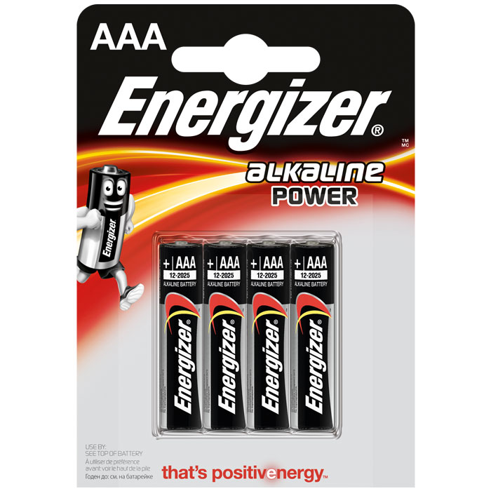 Energizer Battery Alkaline Power AAA Pack 4pieces