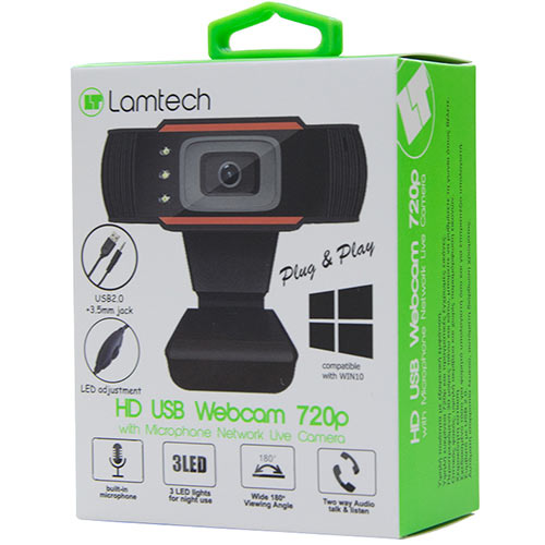 Webcamera LAMTECH HD PC USB WEBCAM 720P με μικρόφωνο