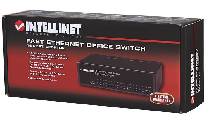 INTELLINET Fast Ethernet Office Switch 16Port Desktop