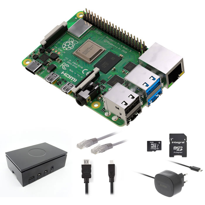 Raspberry Pi 4 Starter kit με WiFi 16Gsd/PSU/Case/NOOBS