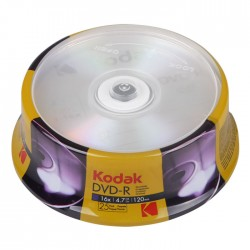 KODAK DVD-R 16x 4.7GB 25-Pack Cake Box