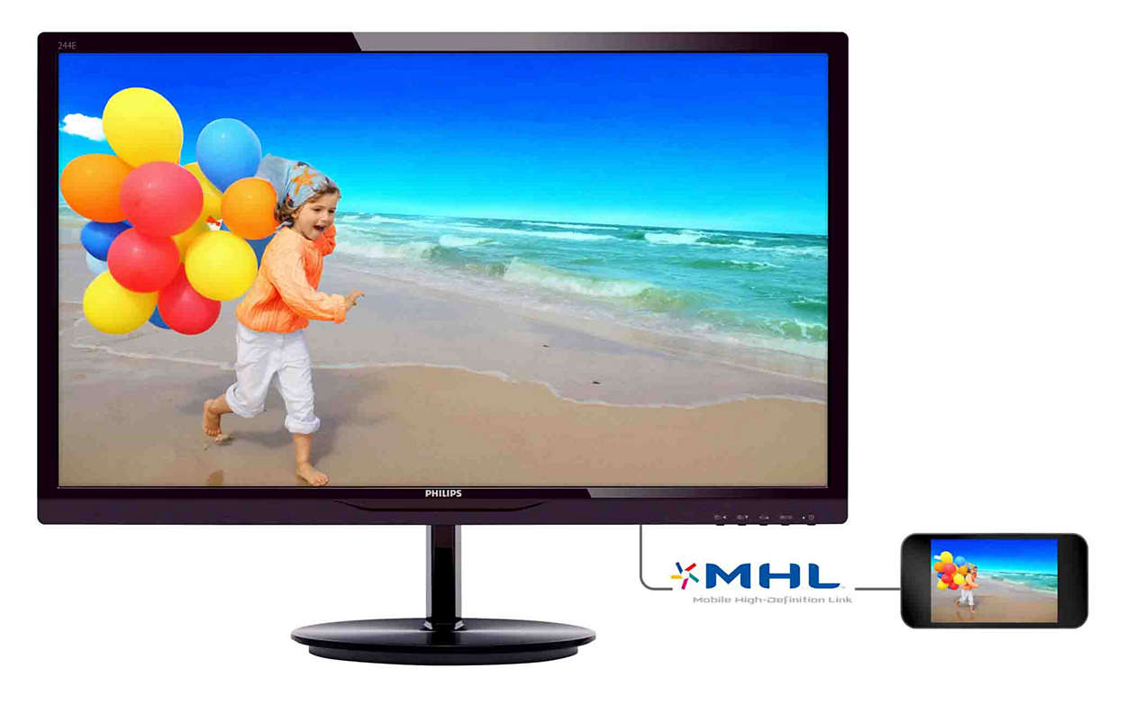 "PHILIPS 24"" TFT 244E5QHAD LED IPS 1920x1080/VGA/HDMI MHL"