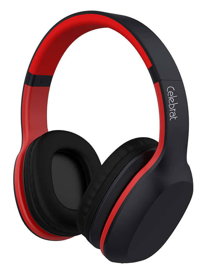 CELEBRAT Bluetooth headphones A18-BKRD Wireless & Wired Red/BLCK