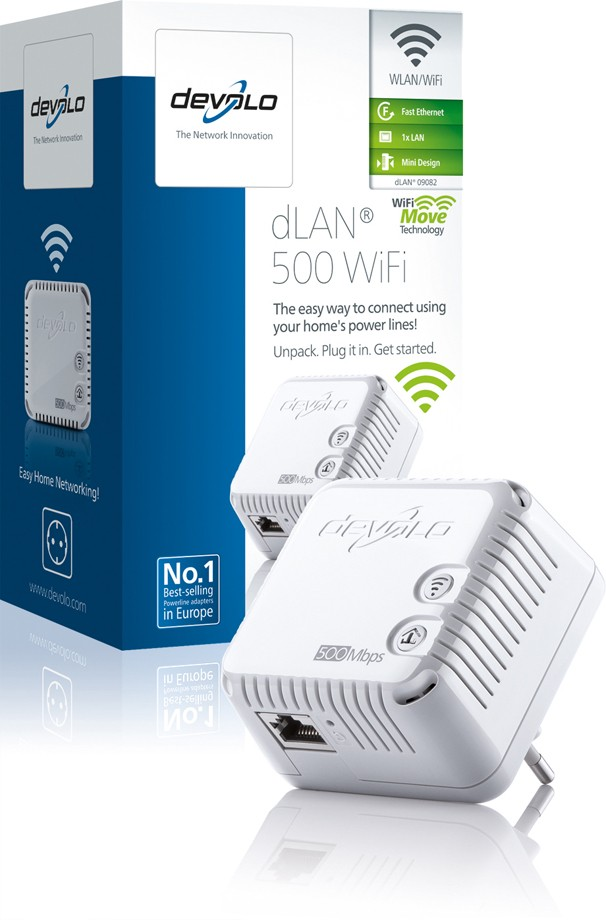 DEVOLO Powerline dLAN 500 WiFi Single Adapter 9082