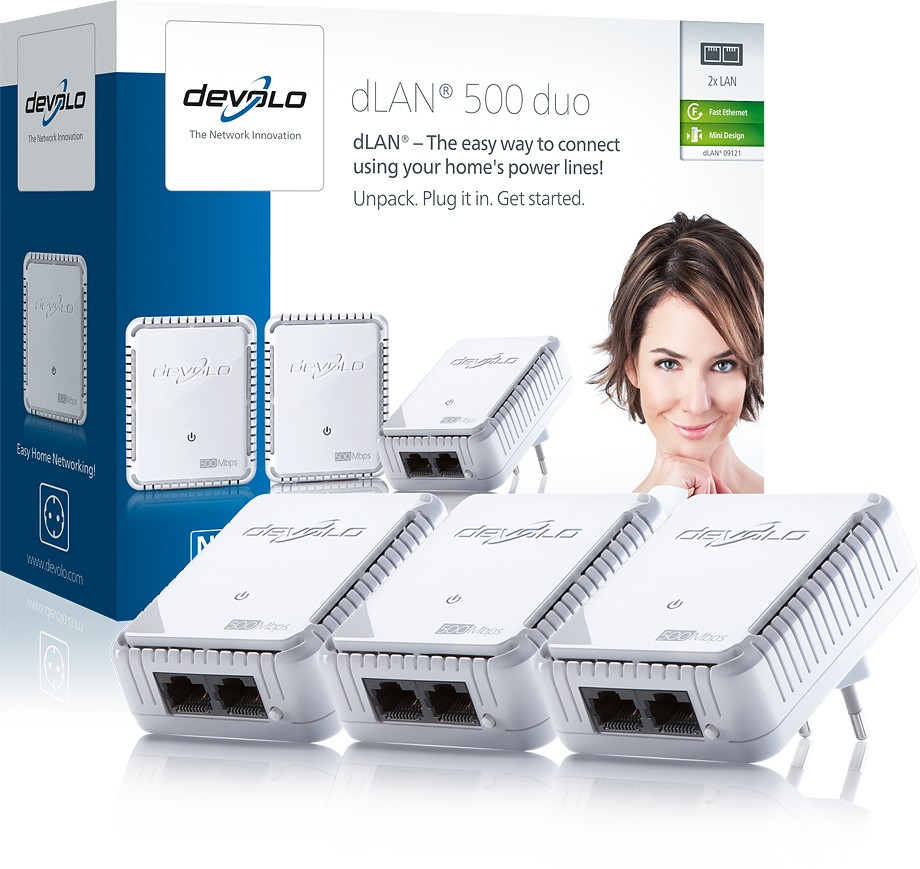 DEVOLO Powerline dLAN 500 duo Network Kit 3pcs 9121