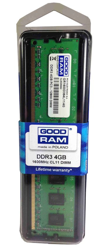 Μνήμη GoodRam 4GB DDR3 1600Mhz PC3-12800 Lifetime Εγγύηση