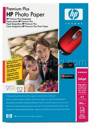 HP Photo Paper Premium Plus A4 280gr 50Φ (SA087A)+Mini Mouse HP