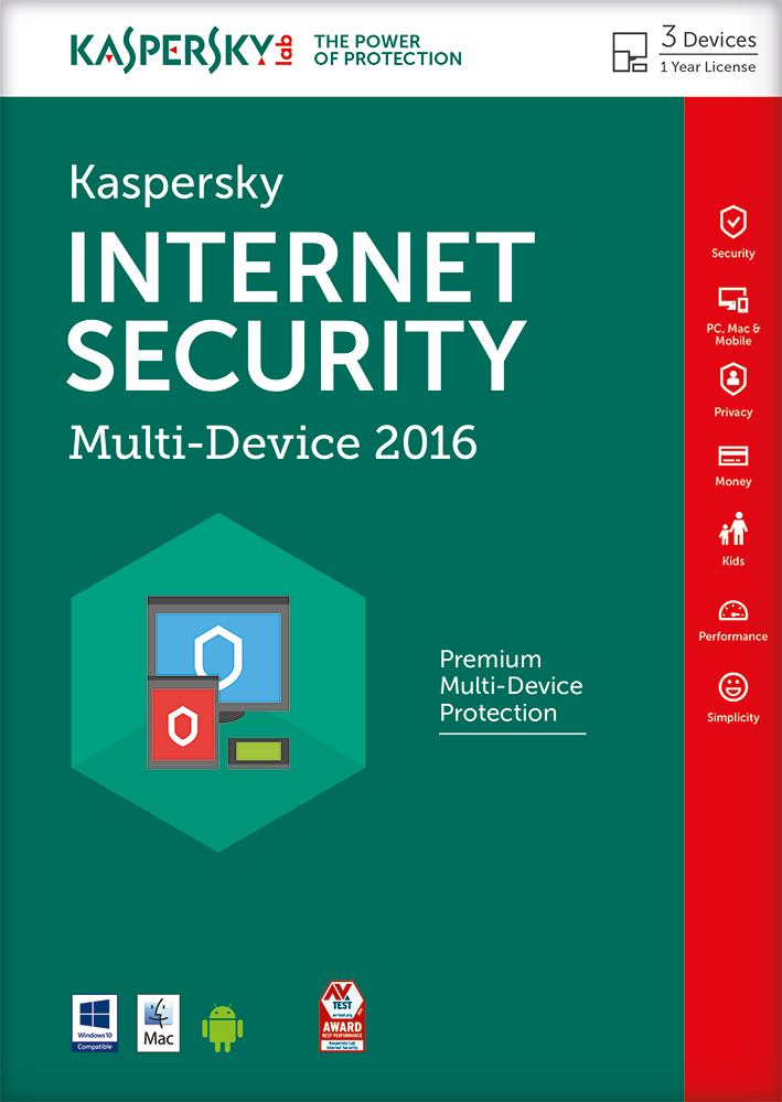 Kaspersky Internet Security 2016 3PC Multi Device ENG DSP