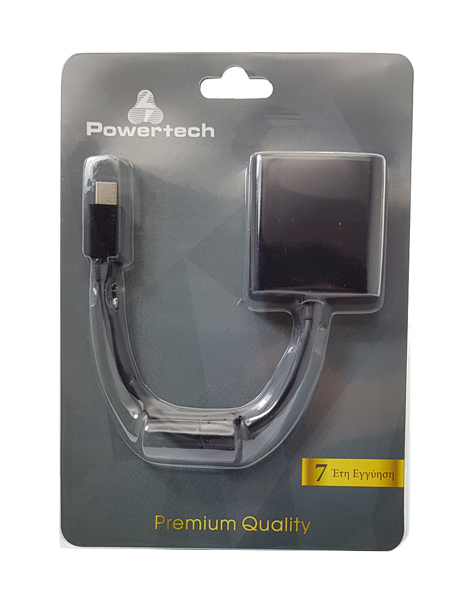 POWERTECH Adapter USB Type-C male to HDMI female Black Ferrite