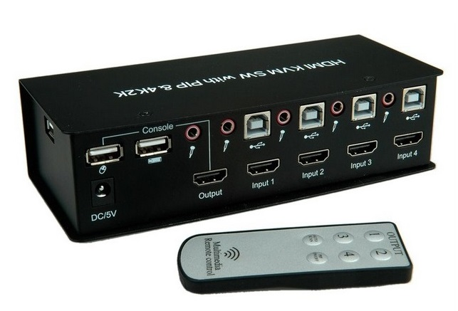 KVM Switch 4port Υπολογιστές USB/HDMI 4K Value