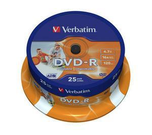 VERBATIM DVD-R 4.7 GB 16x Cake Box Printable (πακέτο 25 τμχ)