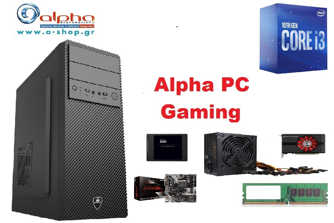 Alpha PC Gaming i3-10100 16Gb/500SSD+2Tb GTX1650/DRW/W10GR
