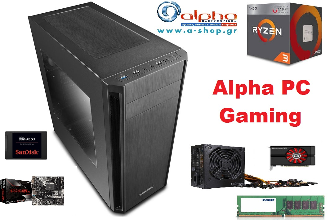 Alpha PC Gaming Ryzen 3 3200G 8Gb@2666 240GbSSD GTX1050Ti-4Gb