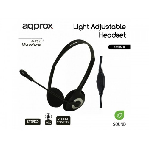 APPROX Stereo Headsets Light-Weight Eco Black appHSEB