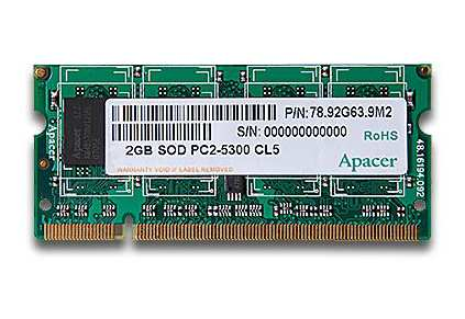 Apacer DDR2 667Mhz 512MB SODIMM PC5300 Notebook Memory
