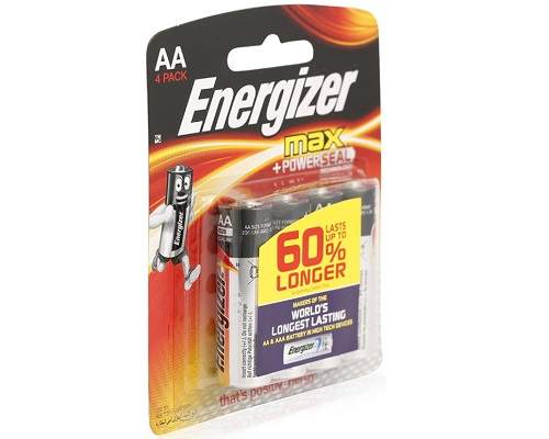Energizer Battery Alkaline Power AA Pack 4pieces