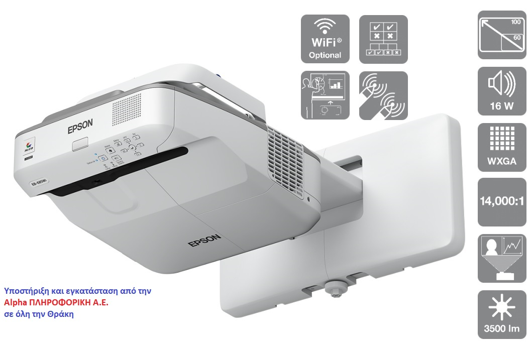 EPSON Video Projector EB-685WI Ultra ShortThrow Interactive 3500