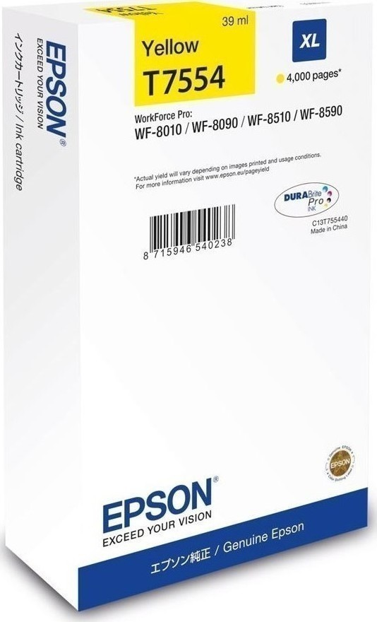 Epson C13T755440 Yellow WF-8590/8510/8090/8010 XL 4000p