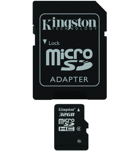 KINGSTON Memory Card MicroSD 32Gb SDC4/32GB Class 4 SD Adapter
