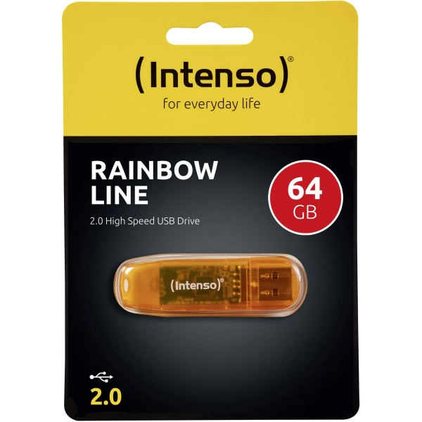 Intenso USB Stick 64GB 2.0 Rainbow Line orange