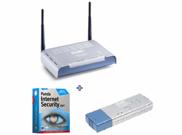 SMC ROUTER 7904WBRA-N+USB WiFi Adapter Ν+Panda Internet Security