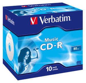 VERBATIM CD-R Audio 80min 700MB/48x 10PACK 43365 Jewel Colour