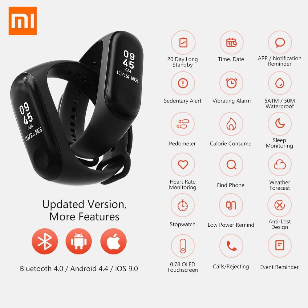Xiaomi Fitness Tracker Mi Band 3 Black Wearable